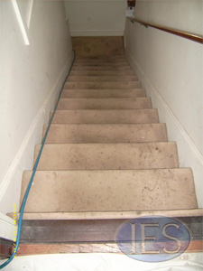 Stairway carpet before carpet cleaning - Calvert County Dunkirk Maryland