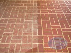 red brick floor during cleaning