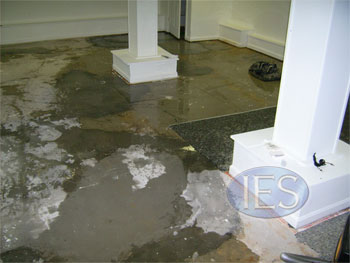 Standing water after carpet & padding removed