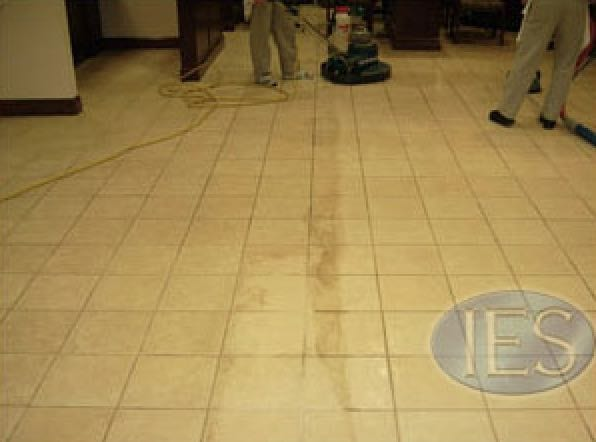 Ceramic Tile & Grout During Cleaning Process