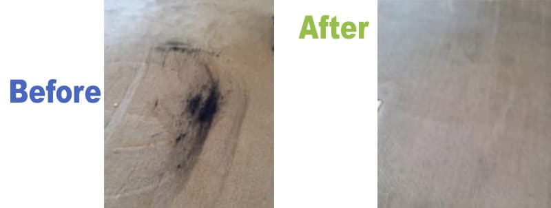 Graphite Oil from Recliner Chair on Carpet
