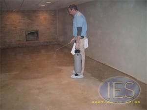 Odor Sealer being applied to Concrete Subfloor