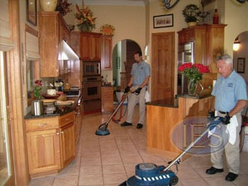 Technicians Scrubbing & Cleaning Tile & Grout Flooring