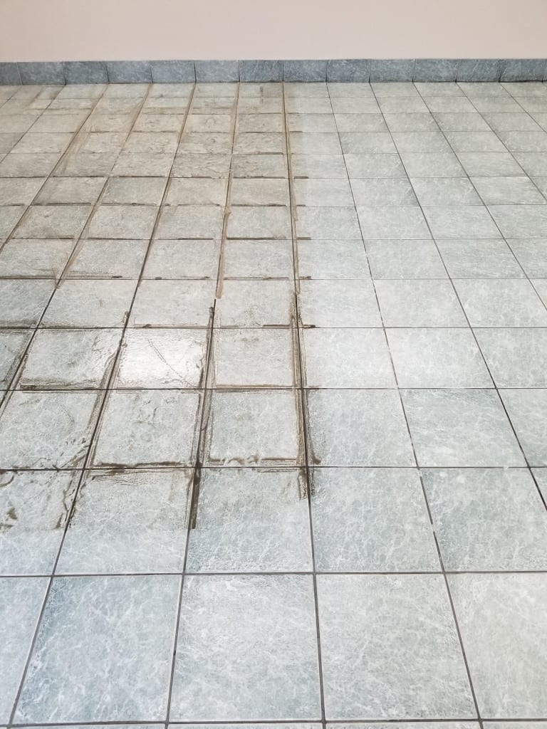 Tile & Grout during scrubbing & Cleaning Process