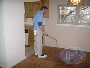 Odor Sealer being applied to Wood Subfloor