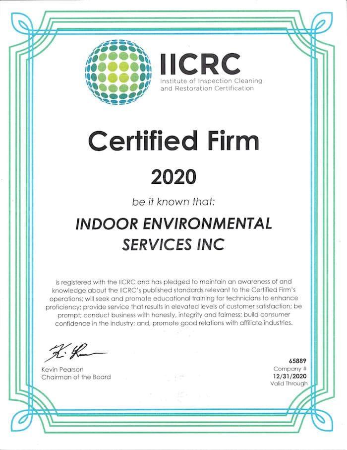 IICRC Certified Firm 2020