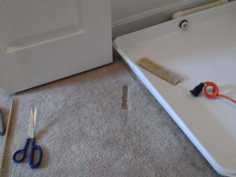 BEFORE: Unknown damage to carpet